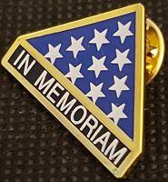 IN MEMORIAM FOLDED FLAG Military Veteran Hero Hat Pin NEW