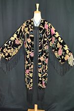 Art to Classic Color Flower Burnout Velvet Fringe Kimono Coat Jacket Opera Duste