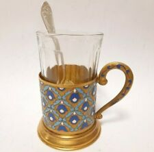 Antigue Old Tea Cup Holder Brass Enamel USSR Podstakannik Soviet Spoon Glassful