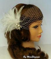 Boho Gatsby, 1920s wedding fascinator,bridal feather fascinator, birdcage veil