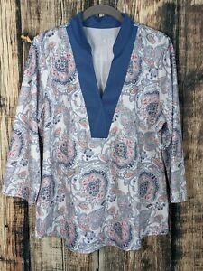 JoFit Golf Shirt Womens XL Paisley 3/4 Sleeve UPF 30 Stretch Knit Athleisure