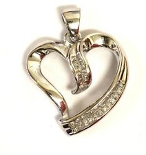 14k white gold .50ct SI1 H princess diamond invisible set heart pendant 1.9g