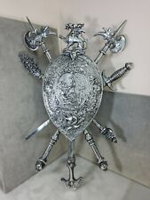 Silver Shield Medieval Wall Decor Vintage lion , Knight. Coat of Arms 30 inches