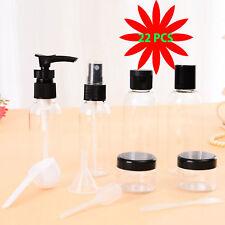 2 packs of Refillable Plastic Cosmetics Travel Bottles Kit Set w/ Black Tops