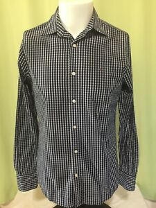 Tommy Hilfiger Custom Fit Men's Blue Checks LS Button Front Shirt Size XS