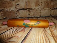 Small Vtg Wood Rolling Pin Recipe Card Picture Photo Holder Country Pink Flowers