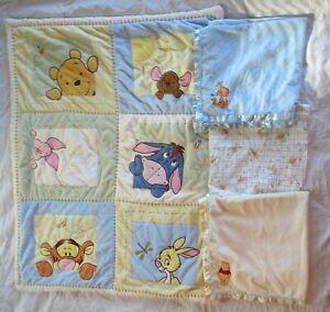 Lot of 4 Winnie the Pooh Baby Blankets & Quilt (Tigger/Piglet/Eeyore/Roo/Rabbit)