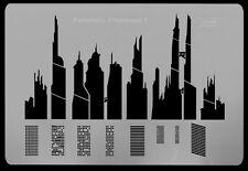 HARDER & STEENBECK AIRBRUSH STENCILS - FUTURISTIC CITYSCAPE
