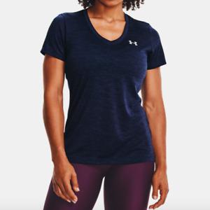 Under Armour Womens Midnight Navy Blue Tech Twist V-Neck T-Shirt Size XS $24