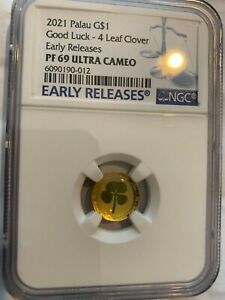 2021 Gold $1 Palau 4-Leaf Clover NGC PF 69 Ultra Cameo Early Releases