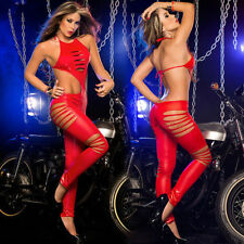 Wetlook ladies lingerie red hot cut out bodysuit catwoman costume hen UK regular