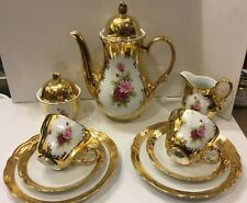 Antique Bavaria Germany Handarbeit 24KT Gold Tea Set Service for 1