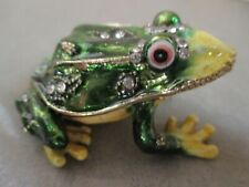 Frog Trinket Box Made of Gold Metal Tone, Green & Yellow Body with Stone Accents