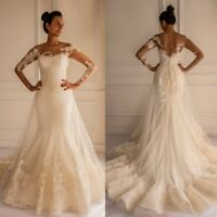Long Sleeves Sheer V-Back White Ivory Mermaid Wedding Dresses Bridal Gown Custom