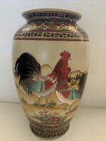 "Rare VTG Large Roosters Porcelain Ceramic Vase Signature Home Collection 12"""