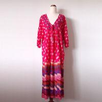 NAUDIC Size M Magenta Pink Batik Print Embroidery Cotton Kaftan Dress Beach Boho