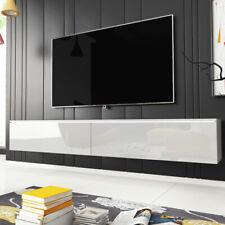 Meuble tv KANE 180 cm blanc béton chêne wotan LED moderne