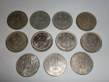 "- INDIA - 11 OLD  ""1/2 RUPEE"" / ""50 NAYE PAISE"" & ""50 P."" COINS -1954/ 1988#11DI"