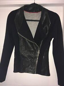 TED BAKER designer, Black Leather & Fabric Panels, Jacket, UK size 8, RRP £250