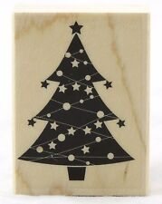 Christmas Tree & Stars Wood Mounted Rubber Stamp Hero Arts NEW holiday card art