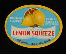 1950s Bottle Label Lemonade Squeeze Tocumwal Cordials Tocumwal NSW Australia
