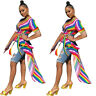 Women Fashion Colorful Stripe V Neck Short Sleeve Swallowtail Casual Tops Blouse