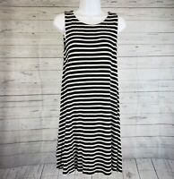 Ann Taylor LOFT Womens Dress Sz Small Black White Striped Sleeveless