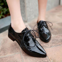 Magic Womens Wing Tip Brogue Oxfords Pointed Toe Lace Up Patent Leather Shoes