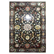 "24""x 36""  Black Flower Design Marble Inlay Table Top Home Decor"