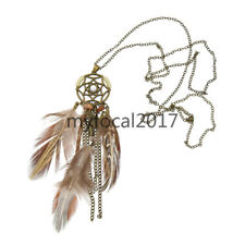 Boho Long Feather Dream Catcher Pendant Necklace Bohemian Women Jewellery Gift