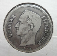 1935 Venezuela 2 Bolivares Silver Coin