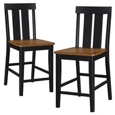 Charmant Set Of 2 Dining Counter Height High Chairs Wooden Seat Distressed Wood U0026  Black