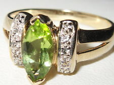 Beautiful Gems Tv 9ct yellow gold marquise Peridot & white topaz gem set ring