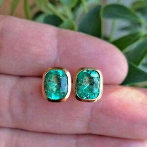2.00Ct Cushion Cut Green Emerald Bezel Set Stud Earrings 14K Yellow Gold Finish