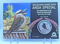 2020 $1 Silver Proof Coin Melb Money Expo ANDA 30th Anniv Australian Kookaburra