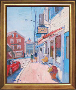 STREET IN BOOTHBAY~MAINE~LISTED ARTIST~ORIGINAL OIL PAINTING BY MARC FORESTIER