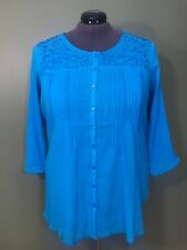 Avenue Blouse Turquoise Cotton Embroidered Details 3/4 Sleeves Plus Size 18/20