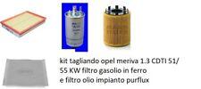 Kit 4  Filtri Tagliando  OPEL MERIVA 1.3 CDTI 51/ 55 KW  filtro gasolio in ferro
