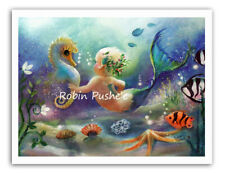 Sea Babies , Mermaid and Seahorse, Cute , Colorful Art Print