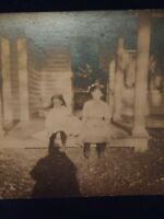 GHOST SHADOW LITTLE GIRLS vtg ABSTRACT 1912 Real Photo Postcard UNUSUAL AZO rppc