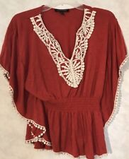 Logix Women's Orange Batwing Poncho Style Cinched Waist Blouse Size S