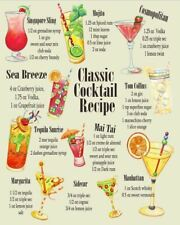 Classic Cocktail Recipes - Vintage Art reprint metal retro sign vintage sign tin