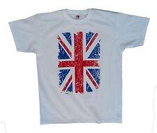 Union Jack Mens distressed print 2 colour patriotic urban t shirt