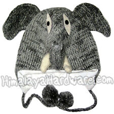 Knit Wool Elephant Hat: beanie winter animal trunk face adult youth ear flap