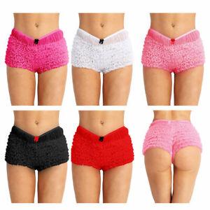 Womens Ruffled Lace Bloomers Knickers Layered Mesh Panties Hot Pants Boy Shorts