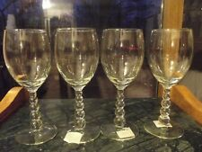 """(4) Water Goblets 8"""" Glasses Libbey Metropolis Clear graduated Stacked Ball Stem"""