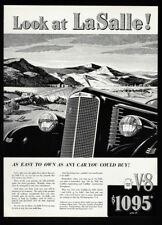 1937 Vintage Print Ad 30's BUICK LASALLE mountain image illustration car art