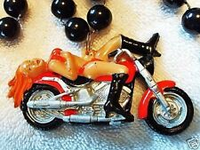 "HOT  ""BIKER BABE""  on MOTORCYCLE MARDI GRAS NECKLACE BEAD HARLEY CHOPPER (B710)"