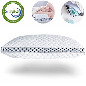 LIANLAM King Memory Foam Pillow for Sleeping Shredded Bed Bamboo Cooling Pillow