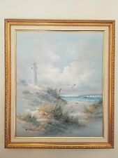 Lighthouse And Ocean View By R Taylon Painting Signed Framed